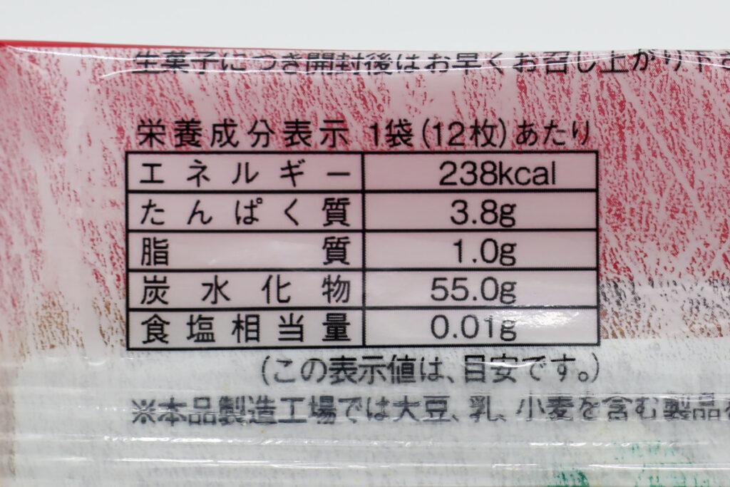 宇治彩菜(ニッキ)の栄養成分表示