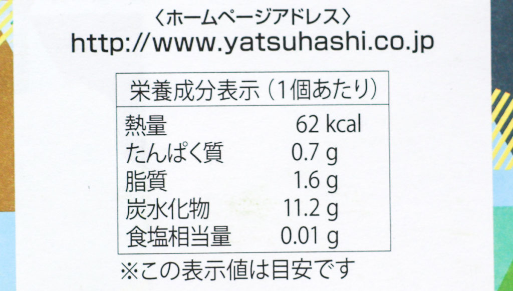 夕子(京都祇園抹茶チョコレート)の栄養成分表示