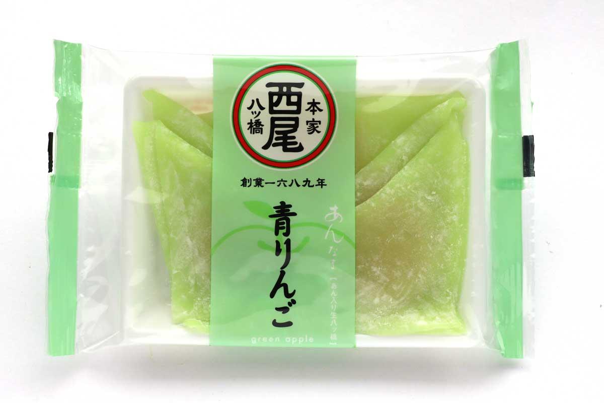 「あんなま(青りんご)」は甘酸っぱくておいしいグリーンの生八ッ橋