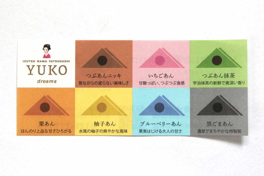 YUKO dreamsに入っている7種類の生八ッ橋
